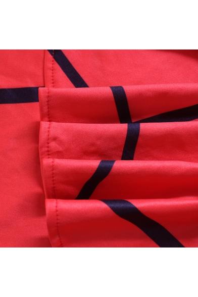 New Stylish Plaid Boat Neck Half Sleeve Oversized Ruffle Bow Tie Mini Bodycon Dress