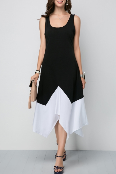New Stylish Scoop Neck Sleeveless Colorblock Midi Asymmetric Black Dress For Women