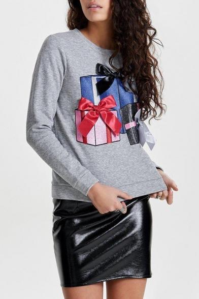 Рождество Новый стильный женские подарки печатных шею длинным рукавом толстовка