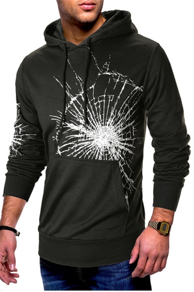 New Trendy Spider Web Printed Long Sleeves Black Fitted Hoodie with Pocket