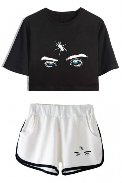 Popular Cool Eyes Pattern Short Sleeve Crop Tee Sport Dolphin Shorts Two-Piece Set, Color 1;color 2;color 3;color 4;color 5;color 6;color 7;color 8, LC534598