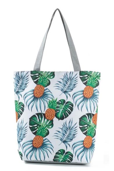 Popular Pineapple Leaves Printed White Shoulder Shopper Bag 27*11*38 CM
