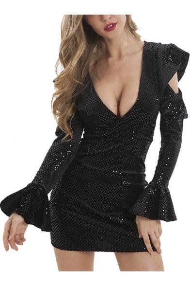 Sexy Plunging Neck Hollow Ruffled Long Sleeve Mini Black Bodycon Night Club Dress