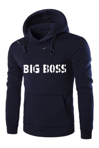 Simple BIG BOSS Letter Long Sleeve Regular Fitted Men's Hoodie