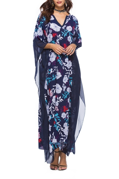 Summer Chic Floral Pattern Batwing Sleeve Mesh Panel Maxi Casual Loose Kaftan Dress