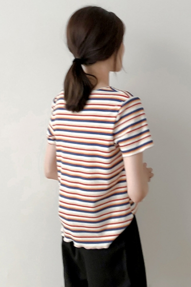 Summer Chic Ruched V-Neck Short Sleeve Striped Printed Loose T-Shirt