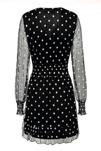Summer Fancy Black Polka Dot Printed V-Neck Mesh Long Sleeve Mini A-Line Ruffled Dress