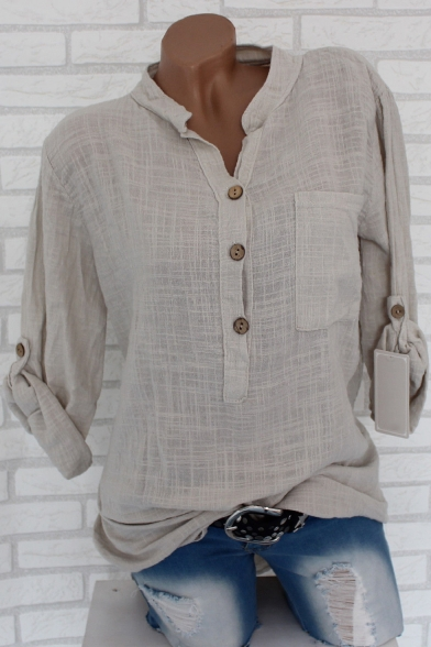 Summer Fashion Simple Plain Button Front Stand Collar Long Sleeve Shirt for Women