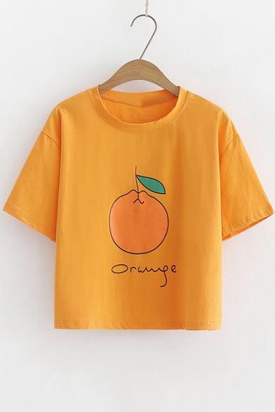 Summer Lovely Cartoon Orange Print Basic Round Neck Loose Fit Cropped T-Shirt