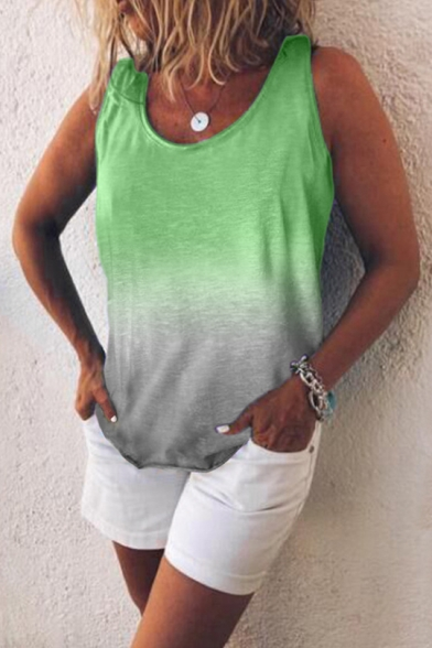 Summer Popular Ombre Color Simple Plain Sleeveless Casual Loose Tank Top