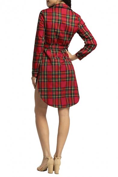 Trendy Check Plaid Pattern Long Sleeve Button Down Tied Waist Mini High Low Shirt Dress