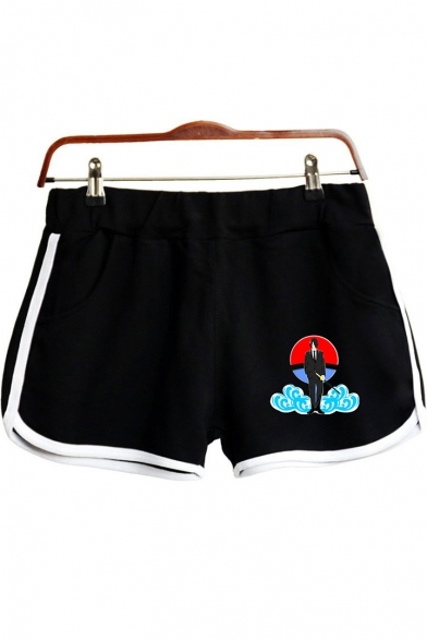 Trendy Comic Character Cloud Printed Elastic Waist Sport Loose Dolphin Shorts