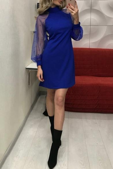 Trendy Simple Plain High Neck Beading Embellished Sheer Mesh Long Sleeve Mini A-Line Dress
