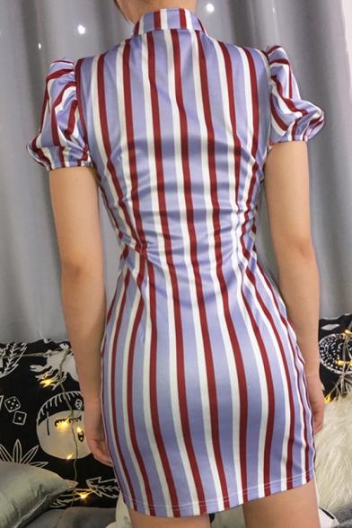 Vintage Chinese Style Stand Collar Puff Short Sleeve Vertical Striped Blue Mini Sheath Cheongsam Dress