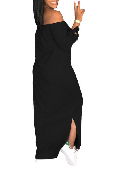 Women's Hot Fashion Off The Shoulder Bow Long Sleeve Lips Printed Split Side Maxi Shift Dress
