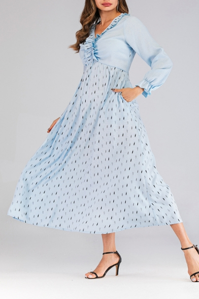 Women's Unique V-Neck Bell Sleeve Printed Ruffle Detail Midi A-Line Light Blue Dress