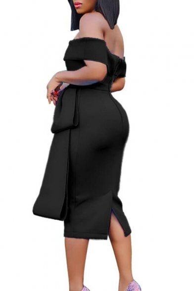 Women Sexy Off the Shoulder Simple Solid Color Peplum Midi Sheath Dress
