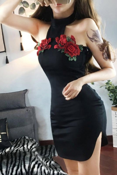 Womens Chic Floral Embroidery Halter Neck Sleeveless Split Side Mini Black Bodycon Club Dress