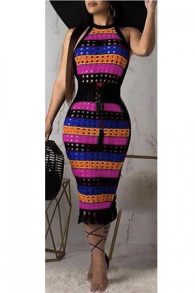 Womens Colorblock Striped Halter Sleeveless Hollow Out Tie Waist Midi Bodycon Pencil Dress