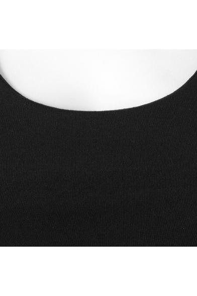 Womens Fashion Plain Scoop Neck Cutout Back Black Asymmetrical Bodycon Dress