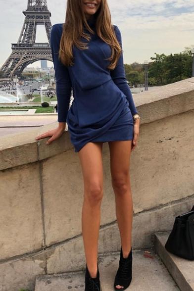 Womens Hot Trendy Solid Color High Neck Long Sleeve Simple Plain Mini Sheath Dress