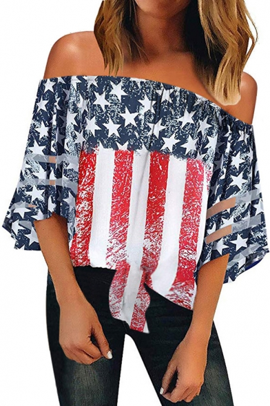 Womens Sexy Off the Shoulder Mesh Patched Sleeve American Flag Print Casual Loose T-Shirt