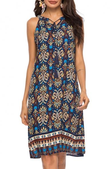Womens Summer Chic Holiday Bohemian Pattern Halter Neck Midi Swing Cami Dress