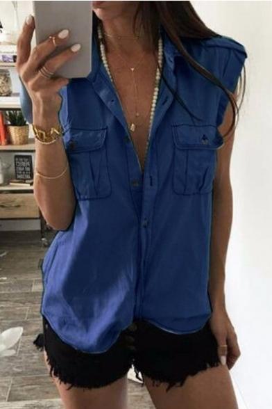 Womens Summer Cool Simple Plain Button Front Pocket Chest Casual Loose Blue Denim Shirt