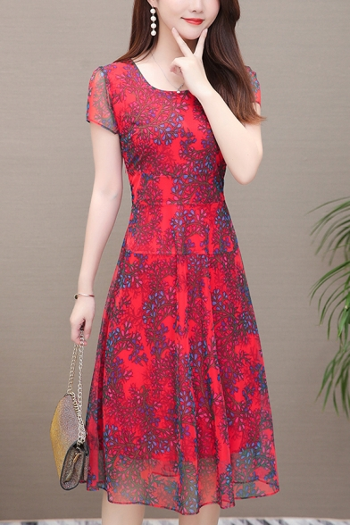 Womens Summer Fashion Floral Pattern Square Neck Short Sleeve Midi A-Line Chiffon Dress