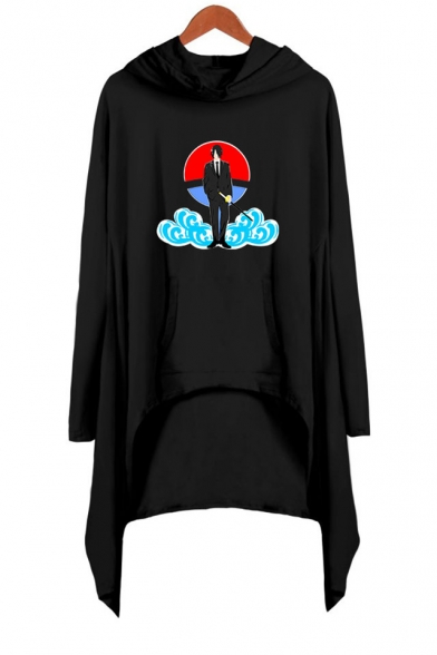 Womens Trendy Comic Figure Cloud Printed Long Sleeve Asymmetrical Casual Hooded Dress