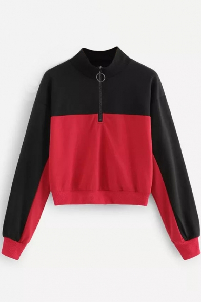 Black and Red Stand Collar Long Sleeve Sweatshirt with Zip