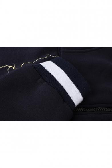 Cool Fashion Lightning Pattern Long Sleeve Regular Fit Zip Up Drawstring Hoodie with Pocket