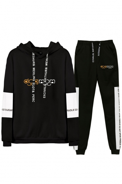Cool Funny Letter DOG MOM Printed Hoodie with Casual Loose Sweatpants Sport Two-Piece Set