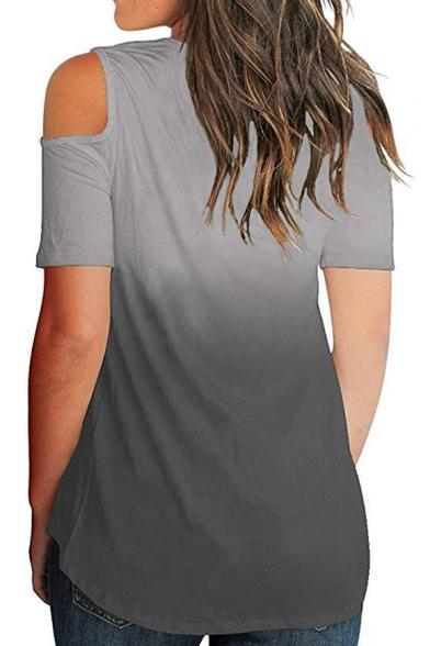Crisscross V-Neck Cold Shoulder Short Sleeve Fashion Ombre Color Casual Loose Asymmetrical T-Shirt for Women
