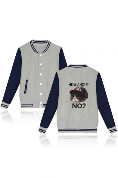 Cute Cartoon Grumpy Cat Letter HOW ABOUT NO Rib Stand Collar Long Sleeve Varsity Baseball Jacket