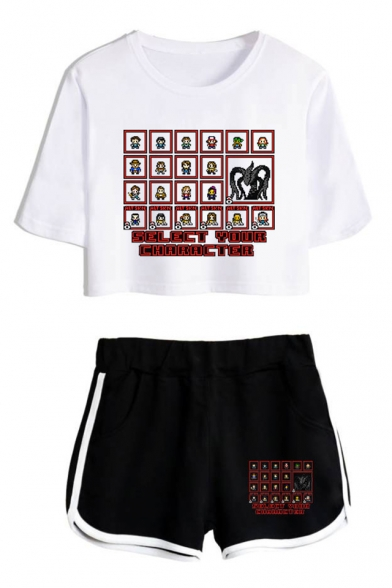 Funny Comic Letter SELECT YOUR CHARACTER Print Cropped Tee with Loose Shorts Casual Two-Piece Set, Color 1;color 2;color 3;color 4;color 5;color 6;color 7;color 8, LM537544