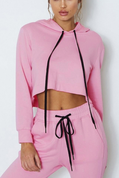 Hot Sale Solid Color Long Sleeve Drawstring Cropped Hoodie