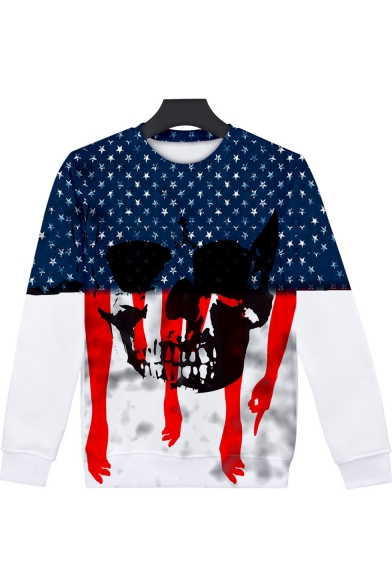 Independence Day Hand Skull Star Pattern Round Neck Long Sleeve Pullover Sweatshirt