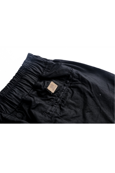 Men's Summer Trendy Simple Plain Drawstring Waist Black Loose Tapered Pants Trousers