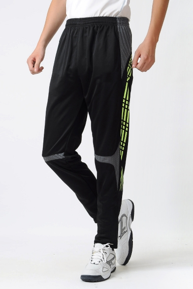 Mens New Fashion Elastic Waist Patched Colorblock Sport Loose Athletic Cycling Pants