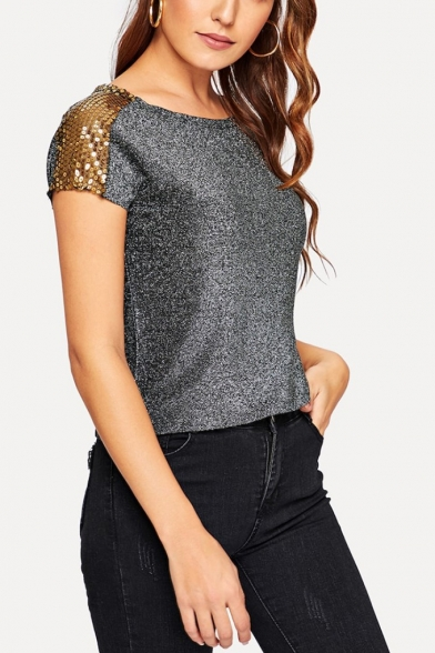 New Stylish Round Neck Short Sleeve Simple Plain Sequined Shoulder Silver T-Shirt For Women