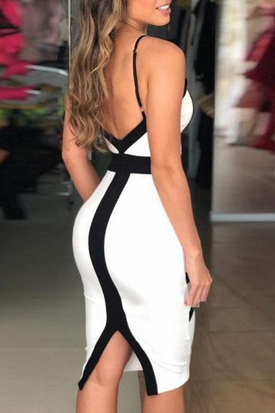 Sexy V Neck Black and White Striped Printed Open Back Split Midi Cami Bodycon Dress