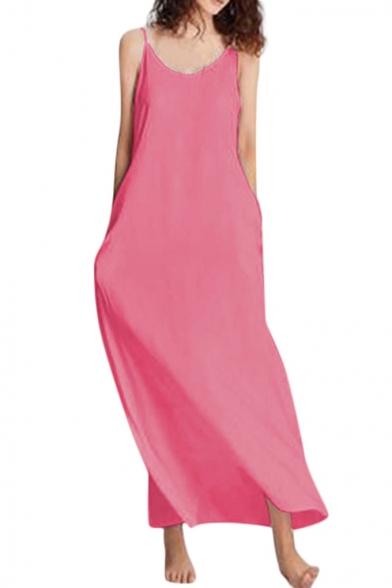 Summer Basic Simple Plain V-Neck Sleeveless Cotton Loose Maxi Slip Dress
