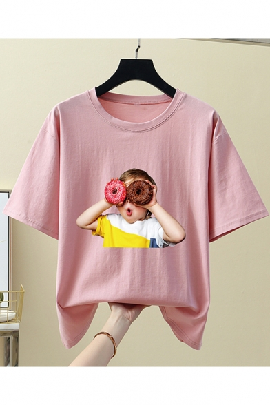 Summer Cute Doughnut Boy Pattern Round Neck Short Sleeve Cotton Loose Tee