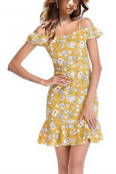 Summer Fashion Floral Pattern Straps Cold Shoulder Mini Bodycon Ruffled Chiffon Dress