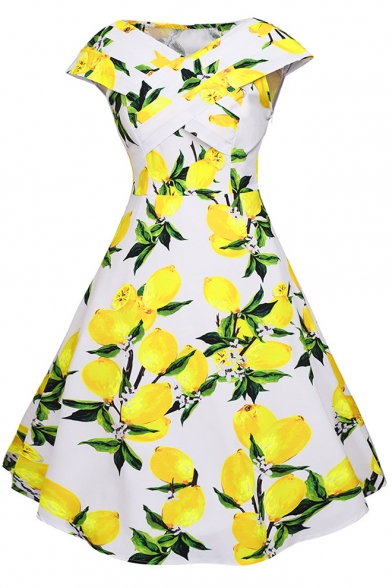 Summer Fashionable Lemon Pattern V-Neck Vintage Fit and Flared Midi Dress