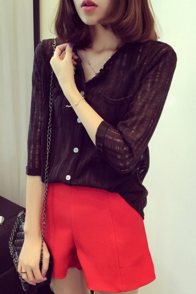 Summer Stylish Solid Color V-Neck Button Front Fitted Linen Shirt Blouse