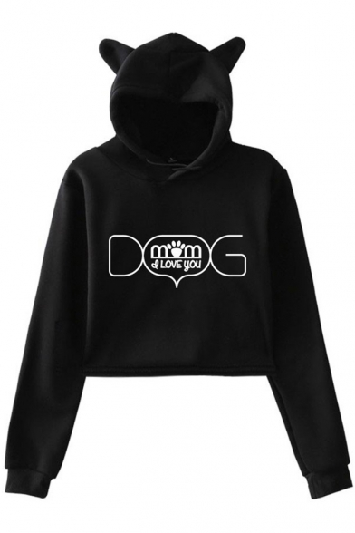 Unique Letter DOG MOM Pattern Cute Cat Ear Design Long Sleeve Cropped Hoodie