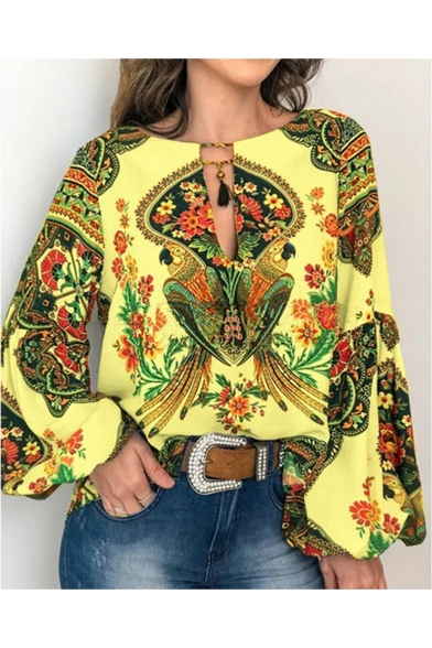Unique Tribal Print Cut Out Tassel Detail Round Neck Lantern Sleeve Holiday Blouse Top