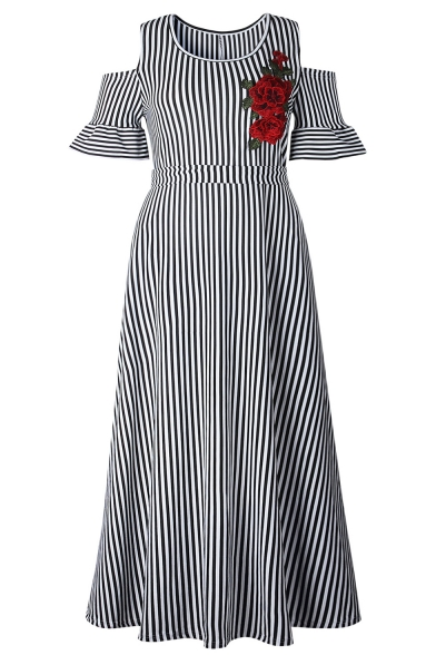 Women's Hot Fashion Round Neck Cold Shoulder Floral Stripes Printed Embroidered Maxi Swing Dress